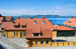 Yellow houses with tile roofs in Bergen, Norway Royalty Free Stock Photo