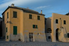 Yellow Houses in Varigotti Stock Photos