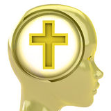 Yellow human head with brain cloud with golden cross inside Royalty Free Stock Photo