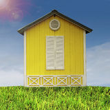 Yellow Hut on Field Stock Photo