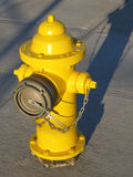 Yellow Hydrant. Photograph of a newly installed, bright yellow fire hydrant lit by early morning or late afternoon sunlight stock images