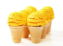 Yellow ice cream cones Royalty Free Stock Images