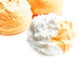 Yellow  Ice Cream  over white background. Vanilla, Lemon Royalty Free Stock Photography