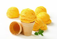 Yellow ice cream Stock Images