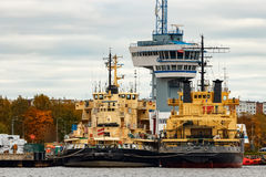 Yellow icebreakers. Moored at the port of Riga, Europe royalty free stock photo