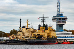 Yellow icebreakers. Moored at the port of Riga, Europe stock image