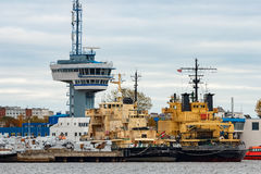 Yellow icebreakers moored Royalty Free Stock Photography