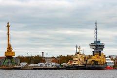 Yellow icebreakers moored Stock Photos