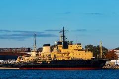 Yellow icebreakers moored Royalty Free Stock Photo