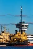 Yellow icebreakers moored Royalty Free Stock Photos