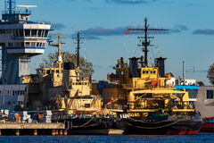 Yellow icebreakers Stock Images