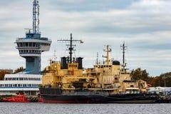 Yellow icebreakers moored Stock Image