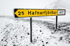 Yellow Icelandic road sign in snowy day Royalty Free Stock Images