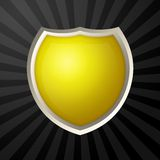 Yellow icon. Blank yellow icon with metal border over ray background royalty free illustration