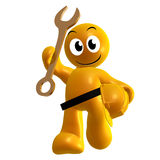 Yellow icon with service tool and safety helmet Royalty Free Stock Images