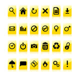 Yellow icon set Royalty Free Stock Image
