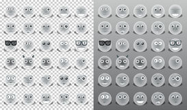 Yellow icons emoticons. With the emotions on the face Royalty Free Stock Images