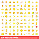 100 yellow icons set, cartoon style. 100 yellow icons set in cartoon style for any design vector illustration Stock Photography