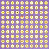 100 yellow icons set in cartoon style. On purple background vector illustration Stock Photo