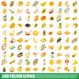 100 yellow icons set, isometric 3d style Stock Photo