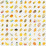 100 yellow icons set, isometric 3d style. 100 yellow icons set in isometric 3d style for any design vector illustration Royalty Free Stock Image