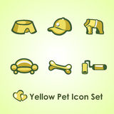 Yellow Icons set for man and his dog Royalty Free Stock Photo