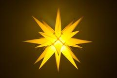Yellow illuminated moravian star Royalty Free Stock Photo