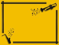 Yellow illustration with saxophone and trumpet playing music. Yellow illustration with musical notes, black frame, trumpet and saxophone shapes Stock Photos