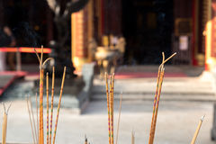 Yellow incense sticks burning at Wong Tai Sin , Chinese Temple, Hong Kong Royalty Free Stock Photos