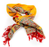 Yellow indian silk scarf dupatta isolated Stock Photo