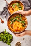 Yellow Indian vegan lentil soup curry with parsley and sesame in stock photo