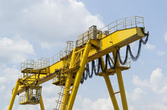 Yellow industrial crane Royalty Free Stock Photography