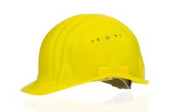 Yellow industrial safety helmet Stock Photography