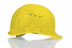 Yellow industrial safety helmet. Icon photo for work, labor protection and accident prevention Stock Photos
