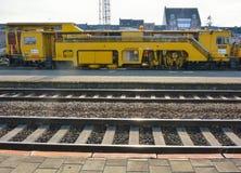 Yellow industrial train equipment Royalty Free Stock Photo