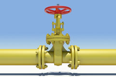 Yellow industrial valves and pipe with shadow Royalty Free Stock Photos