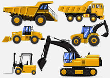 Yellow industrial vehicles. On white background Stock Photos