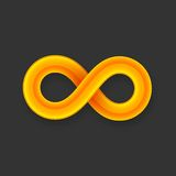Yellow infinity symbol icon from glossy wire with Royalty Free Stock Image