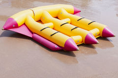 Yellow inflatable boats Stock Photos
