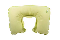 Yellow inflatable neck pillow Royalty Free Stock Photography