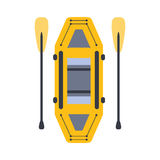 Yellow Inflatable Raft With Two Peddles, Part Of Boat And Water Sports Series Of Simple Flat Vector Illustrations Stock Images