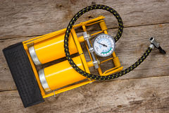 Yellow inflator with gauge Stock Image