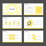 Yellow Infographic elements icon presentation template flat design set for advertising marketing brochure flyer. Yellow Multipurpose Infographic elements and royalty free illustration