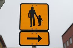 The yellow information sign. The sign guides to help the child stock image