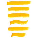 Yellow ink brush strokes Stock Image