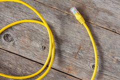 Yellow internet cable Royalty Free Stock Photography