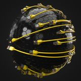 Yellow internet cables covering hi-tech sphere. conceptual 3d illustration of ethernet cable and rj-45 plug. With black background. suitable for any internet Royalty Free Stock Images