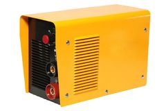 Yellow inverter welding machine, isolated on a white background. Yellow inverter welding machine, welding equipment isolated on a white background royalty free stock photo