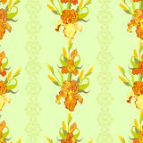 Yellow iris flower seamless pattern background. Stock Images