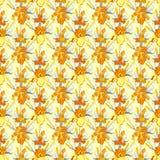 Yellow iris flower seamless pattern background. Stock Photo